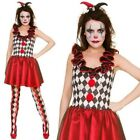 Adult Ladies Harlequin Jester Circus Halloween Fancy Dress Costume Outfit UK 6-2