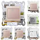 Silver Mirror Light Switch Surround Wall Sticker Cover Frame Car Home Decoration