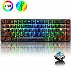 60% True Mechanical Gaming Keyboard Wired 68 Keys LED Backlit USB for PS4 PC MAC