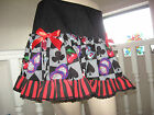 Cosplay Casino Skirt Black white red striped Lace Party Rockabilly cards Gothic
