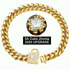 HSX Cuban Link Dog Collar 14MM Gold Chain Collar with Zirconia Lockin