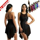 Women Lyrical Ballet Dance Leotard Sequins Mesh Sleeveless Dress Dancewear US