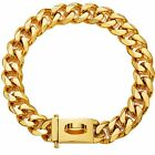 RILPET Gold Dog Collar 19mm Dog Chain Collar Heavy Duty Cuban Link Dog Chain