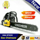 COOCHEER 20INCH Gas Chainsaw 2-Cycle Handhold Petrol 62CC /58CC Woodcutting 4HP