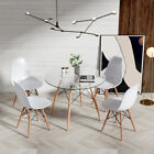 Round Dining Glass Table+4 Chairs Set Wood Leg Dining Room Kitchen Office Home