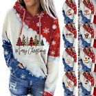 Women Christmas Long Sleeve Hooded Pullover Casual Print Blouse Loose Pocket Top