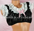 Sissy Satin Ultra Frilly Lacy Crop Top Baby Boy Frilly Maid Nightie Shirt OS