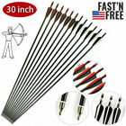 30 inch Fiberglass Arrows Archery SP500 OD 8mm For Compound/Recurve Bow Hunting