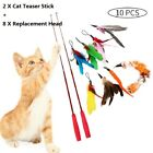 10Pcs Kitten Toy Cat Feather Bell Wand Teaser Rod Interactive Play Pet Toys