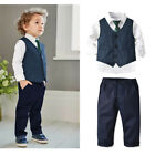 Kids Baby Boy Gentleman Outfits Vest Shirt Tops Pants necktie 4PCS Clothes Set