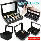 Leather Watch Jewelry Display 6-24 Grids Box Storage Holder Case Organizer Gift