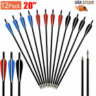 "12Pcs 20"" Carbon Arrows OD8.8mm Crossbow Bolts W/4""vanes Target Hunting Quiver"