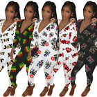 Fashion Clubwear Women Printed Deep V Neck Long Sleeve Casual Homewear Jumpsuit