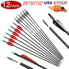 12Pcs 28/30/32 Carbon Arrows OD 7.8mm Hunting Archery For Compound/Recurve Bow