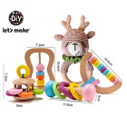 Organic Safe Wooden Toys Baby Toddler Toy DIY Crochet Rattle Soother Bracelet