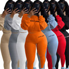 Fashion Clubwear Women Long Sleeves Letter Print Casual Sport Yoga Long Outfits