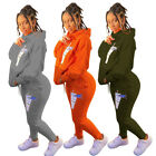 Fashion Clubwear Women Hoodie Long Sleeves Printed Casual Sporty Tracksuit 2pc