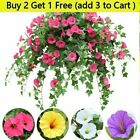 Artificial Flower Basket Morning Glory Vine Trailing Hanging Home Outdoor Decor