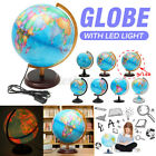 Rotating Rolling Stand Vintage World Globe Earth Map Geography LED Night