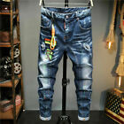 Slim Washed Denim Trousers Dsquared2 Jeans Basic Casual Stretch Pants With Rope