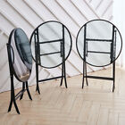 Compact Foling Table 60cm Round Glass Metal Frame Outdoor Garden Patio Furniture