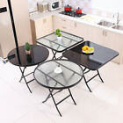 Clear/Mirrored Black Round Glass Table Garden Patio Outdoor & Indoor Metal Frame
