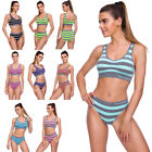 Ladies Striped Underwear Set Padded Top Push-Up Bra Knickers Fitted Lingerie Kit