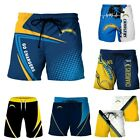 Los Angeles Chargers Summer Beach Shorts GO CHARGERS Surf Swim Trunks Swimsuit