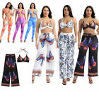 Women's Two-piece Set Halter Bra Tops with High Waist Wide Leg Pants Beachwear