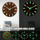 12 Inch Luminous Wall Clock Wooden Silent Mordern Household Article Decoration