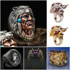 Fashion 925 Silver Rings For Men Jewelry Punk Party Ring Size 6-10