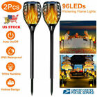 """Flickering Flame Solar Torches Solar Lights 96 LED Lights 31"""" Waterproof Outdoor"""
