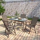 Metal Garden Table And Chair Set Patio Parasol Hole Dining Table With 4/6 Chairs