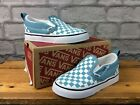 VANS SLIP ON WHITE BLUE CHECKERBOARD TRAINERS CHILDRENS TODDLERS VARIOUS T
