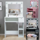 Modern Dressing Table Makeup Desk with/LED Lighted Mirror Drawer with Lock UK
