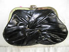 LADIES SMALL BLACK TWIST DETAIL CLASP CLOSURE CLUTCH, HAND, SHOULDER CHAIN BAG
