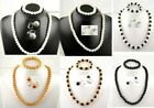 "1 Faux Pearl Set:Necklace+Bracelet+Clip On Earrings 18"" White, Off white, Black"