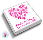 50 Personalised SNOWFLAKE HEART Winter, Christmas Wedding Favour Chocolates