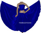 TMS RBlue Satin Full Circle Skirt Belly Dance 27 Colors