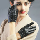 Fashion wrist length shinning full studs real top leather gloves black red