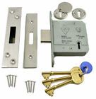 "5 Lever British Standard Mortice Door Dead Lock Deadlock 2½/3"" Brass/Steel 3Keys"