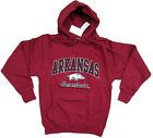 ARKANSAS RAZORBACKS ADULT RED EMBROIDERED V-NOTCH HOODED SWEATSHIRT NWT