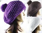 1 Pack WOMEN'S 2 LAYER BERET WARM POM-POM SOFT HAT W/SPARKLING SILVER