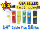 100 PACK 14 INCH NYLON ZIP CABLE TIES 50 lbs black blue green red white yellow