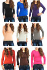 Womens Long Sleeved Plain Scoop Neck Stretch Fitted Top Ladies Women's Brand New