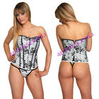 Sexy Satin Floral Lace Corset with G-String, Sz Small to 2X