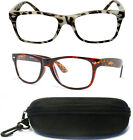 2 PAIRS Women Men Tortoise Shell Leopard Wayfarer Retro Reading Glasses Readers