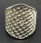 STYLISH STERLING SILVER RING SOLID 925 MESH BAND NEW SIZE H - V EMPRESS