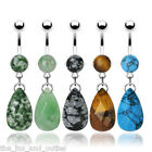 Natural Stone Teardrop Dangle Belly Ring Navel Naval