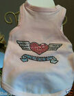 Pink Cotton Dog Tank Top Shirt Clothes+Tattoo Design Nailhead Heart Wings Bling